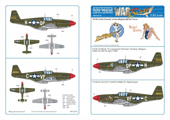 Kits-World Decals 1/32 North-American P-51B Mustangs # 32128
