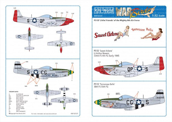 Kits-World Decals 1/32 North-American P-51D Mustangs # 32127