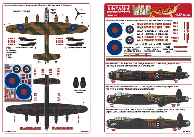 Kits-World Decals 1/48 Avro Lancaster General Markings # 48104