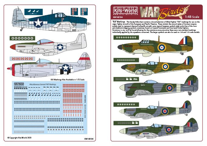 Kits-World Decals 1/48 Various Generic 'Kill' Markings in Assorted Sizes # 48194