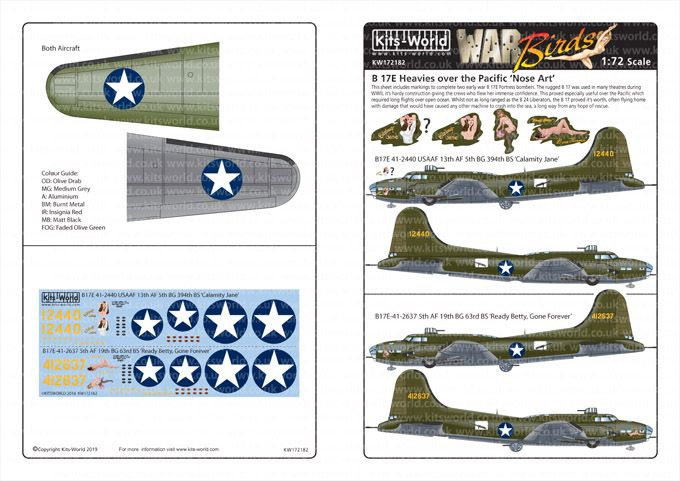 Kits-World Decals 1/72 Boeing B-17E Flying Fortress # 72182