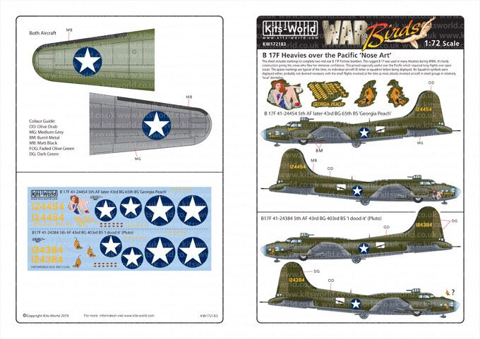 Kits-World Decals 1/72 Boeing B-17F Flying Fortress # 72183