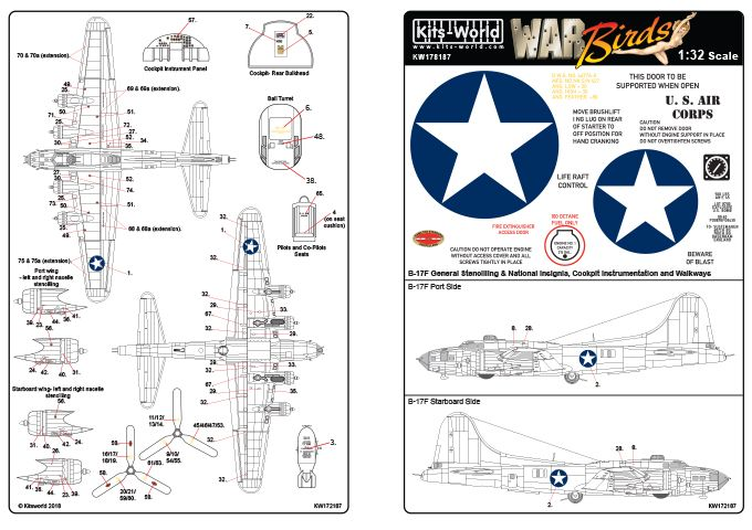 Kits-World Decals 1/72 Boeing B-17F Flying Fortress Comprehensive General Stencilling # 72187