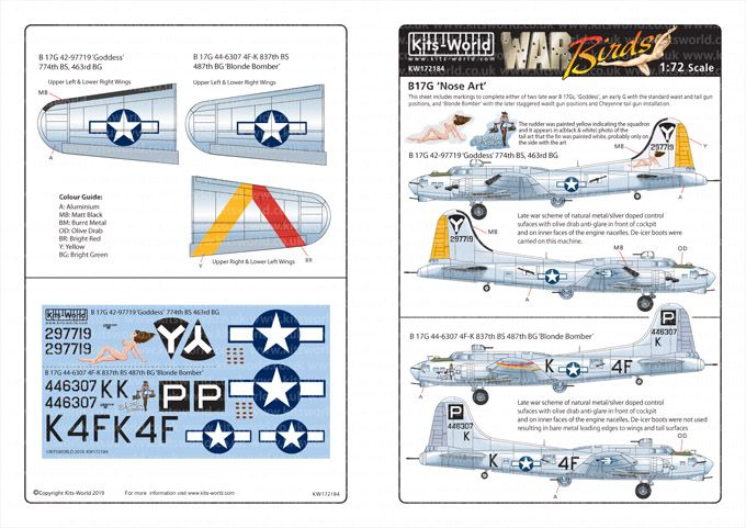 Kits-World Decals 1/72 Boeing B-17G Flying Fortress # 72184