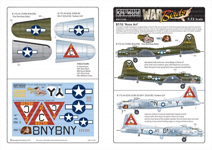 Kits-World Decals 1/72 Boeing B-17G Flying Fortress # 72185