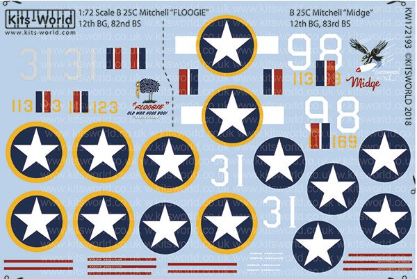 Kits-World Decals 1/72 North American B-25C Mitchell # 72193