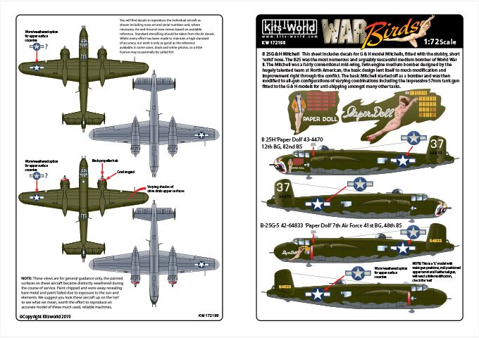 Kits-World Decals 1/72 North American B-25G/H Mitchell # 72198