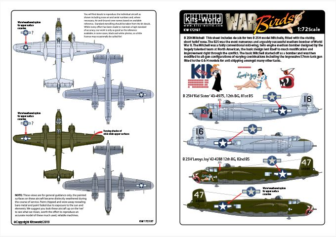 Kits-World Decals 1/72 North American B-25H Mitchell # 72197