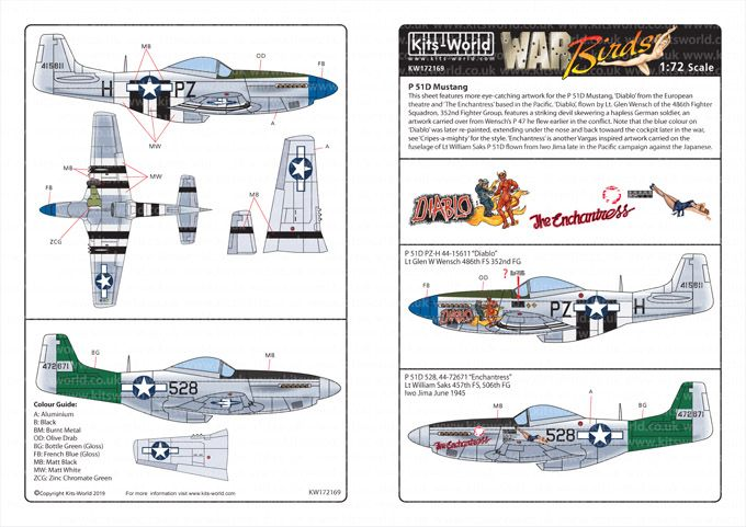Kits-World Decals 1/72 North-American P-51D Mustangs # 72169