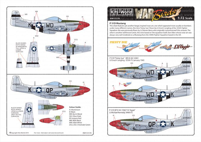 Kits-World Decals 1/72 North-American P-51D Mustangs # 72170