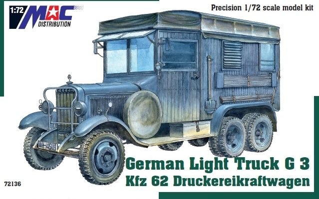 Mac Distribution 1/72 Mercedes-Benz G3 Kfz.62 Druckereikraftwagen German Light Truck # 72136