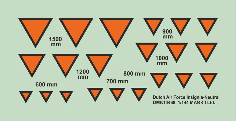 Mark I Decals 1/144 Dutch Air Force Insignia Neutral Triangles (2 Sets) # 14468
