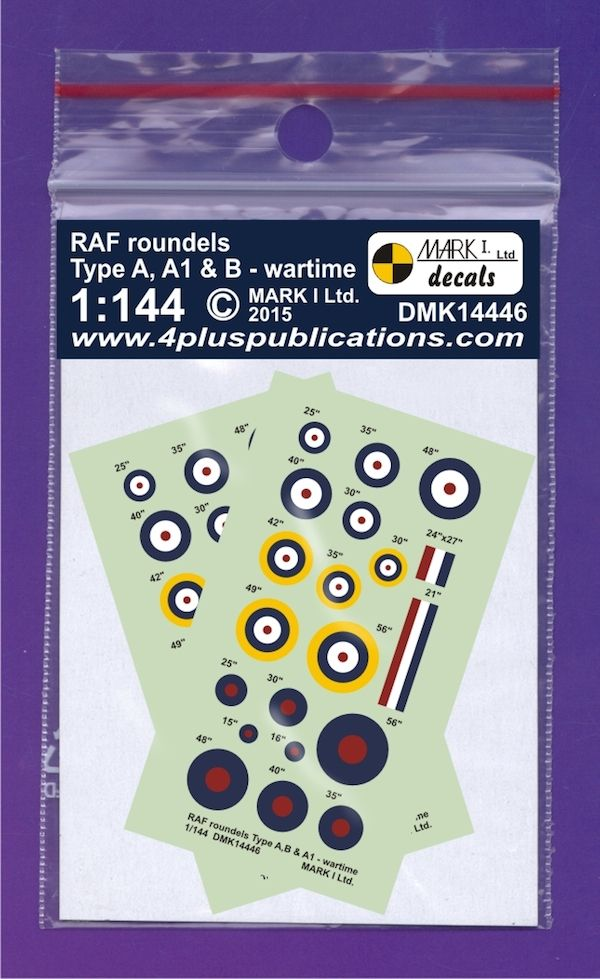 Mark I Decals 1/144 RAF WWII Roundels Type A, A1 & B (2 Sets) # 14446