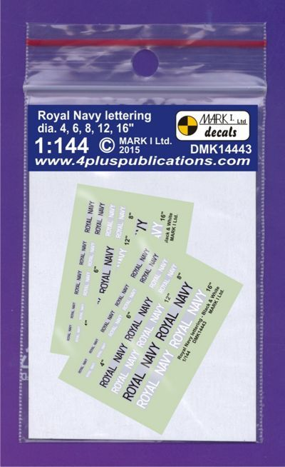 Mark I Decals 1/144 Royal Navy Lettering B&W (2 Sets) # 14443