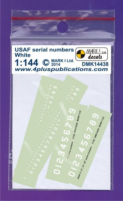 Mark I Decals 1/144 USAF White Serial Numbers (2 Sets) # 14438