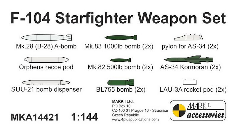 Mark I Models 1/144 Lockheed F-104 Starfighter Resin Weapon Set # MKA14421