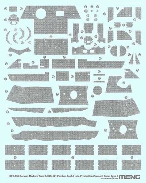 Meng 1/35 Sd.Kfz.171 Panther Ausf. A (Late) Zimmerit Decal Type 1 # SPS-050
