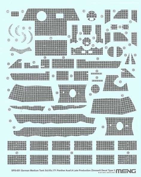 Meng 1/35 Sd.Kfz.171 Panther Ausf. A (Late) Zimmerit Decal Type 2 # SPS-051