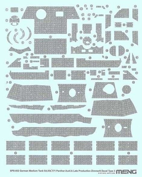 Meng 1/35 Sd.Kfz.171 Panther Ausf. A (Late) Zimmerit Decal Type 3 # SPS-052