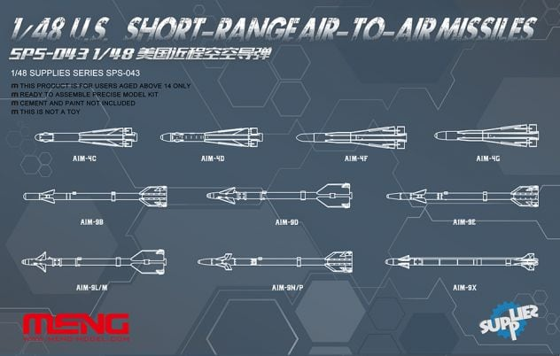 Meng 1/48 U.S. Long/Medium Range Air-to-Air Missiles # SPS-044