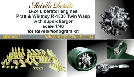 Metallic Details 1/48 Consolidated B-24D/B-24J Liberator Engines # MDR4803