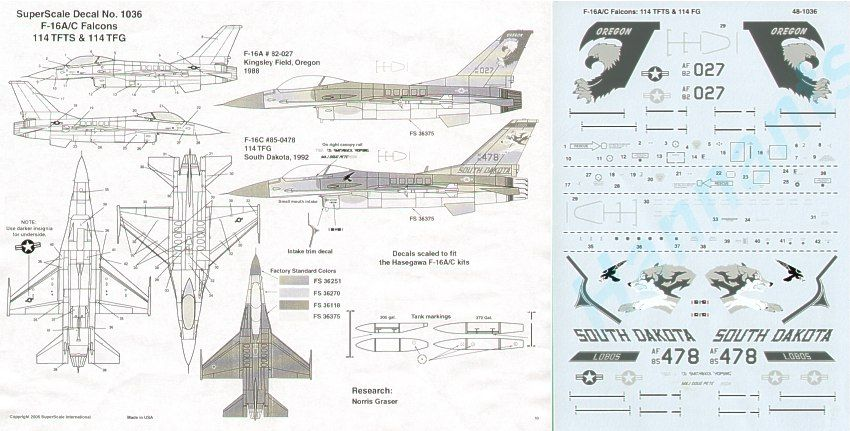 Microscale 1/48 General-Dynamics F-16A/C # SS481036