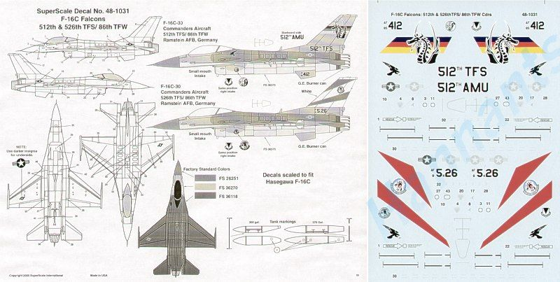 Microscale 1/48 Lockheed-Martin F-16C -30 86TFW Ramstein Air Force Base # SS481031