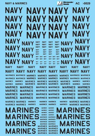 Microscale 1/48 Navy & Marines Assorted Size Lettering - Black # MS48029