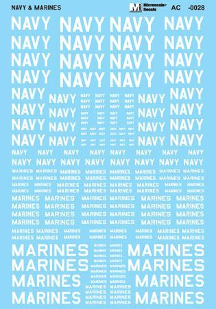Microscale 1/48 Navy & Marines Assorted Size Lettering - White # MS48028