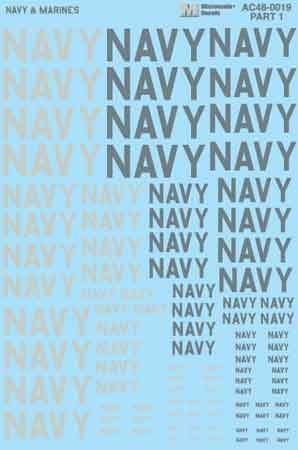 "Microscale 1/48 ""Navy"" & ""Marines"" Lettering (2 sheets) # MS48019"