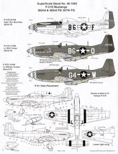 Microscale 1/48 North-American P-51D Mustangs 357th FG # SS481065