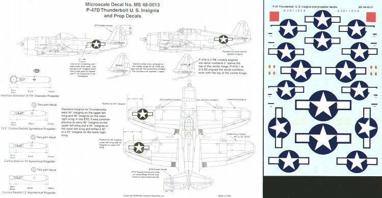 Microscale 1/48 P-47 Thunderbolt U.S. Insignia & Propeller Markings # MS48013