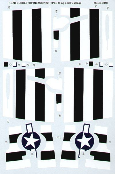 Microscale 1/48 P-47D Bubbletop Black & White Invasion Stripes - Wing & Fuselage # MS48010