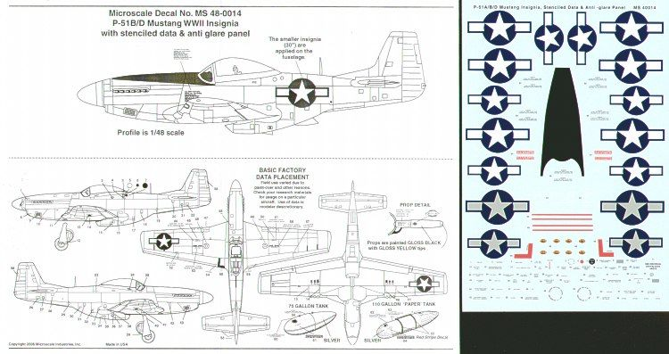 Microscale 1/48 P-51 A/B/D Mustang Insignia, Stencilled Data & Anti-Glare Panel # MS48014