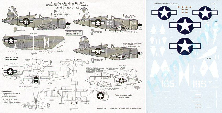 Microscale 1/48 Vought F4U-1C/D Corsairs # SS481042