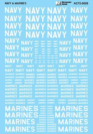 Microscale 1/72 Navy & Marines Assorted Size Lettering - White # MS72028