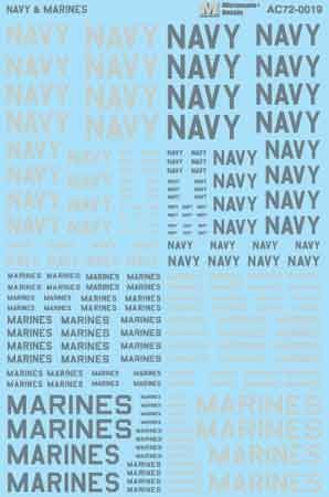 "Microscale 1/72 ""Navy"" & ""Marines"" Lettering # MS72019"