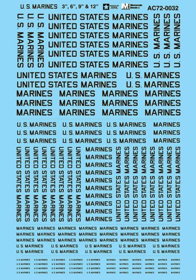 "Microscale 1/72 U.S. Marines Lettering 3"", 6"", 9"" & 12"" # MS72032"