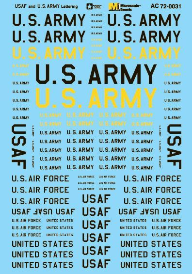 Microscale 1/72 USAF & U.S. Army Assorted Size Lettering - Black & Yellow # MS72031