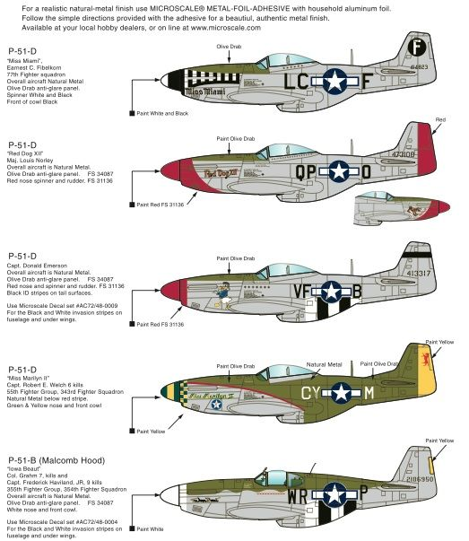 Microscale decals 1/72 P-51B and P-51D # MS72041
