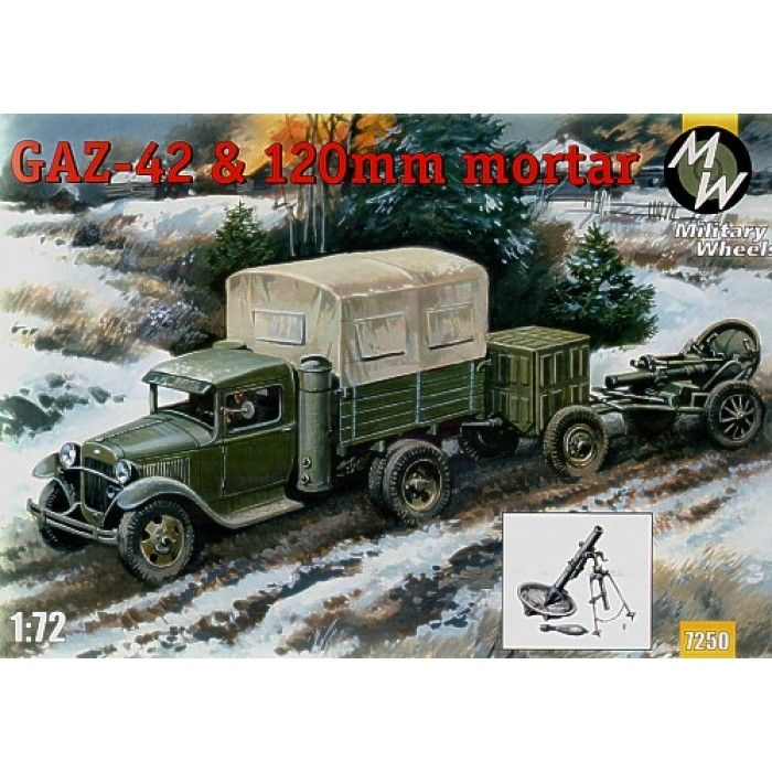 Military Wheels 1/72 Gaz-42 and 120mm Mortar # 7250