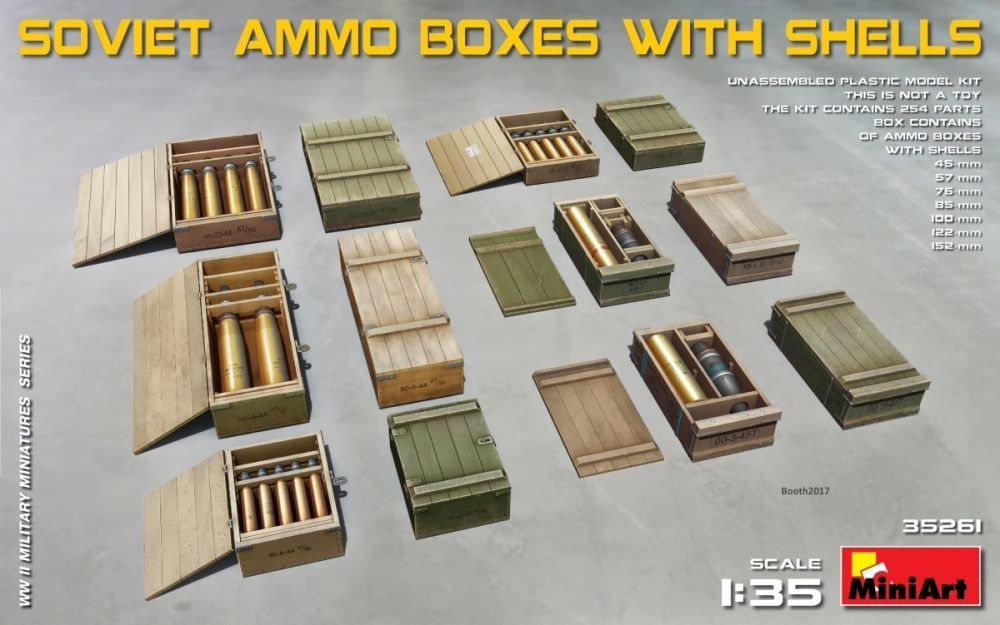 Miniart 1/35 Soviet Ammo Boxes with Shells # 35261