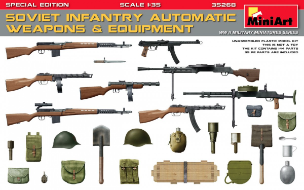Miniart 1/35 Soviet Infantry Automatic Weapons & Equipment (Special Edition) # 35268