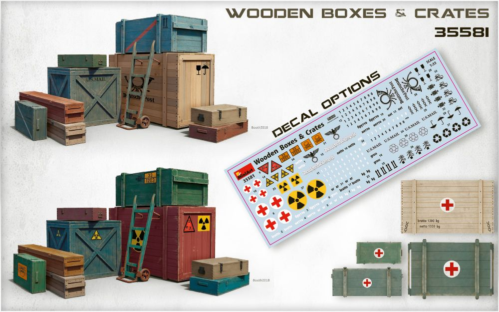 Miniart 1/35 Wooden Boxes & Crates # 35581
