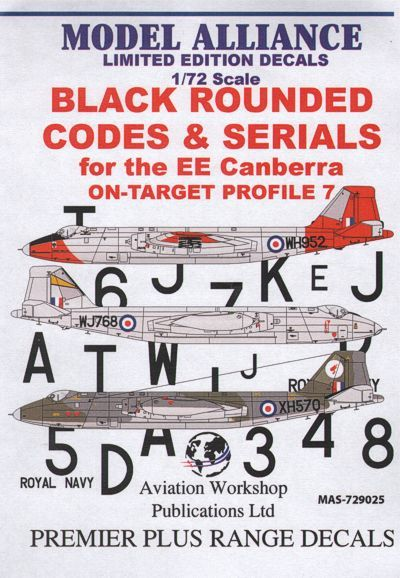 Model Alliance 1/72 Black Squared Codes and Serials for BAC/EE Canberra # 729025