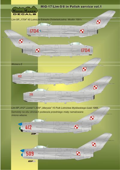 Model Maker Decals 1/32 MiG-17/Lim-5/6 in Polish Service Vol.1 Mask & Decal # MD32025