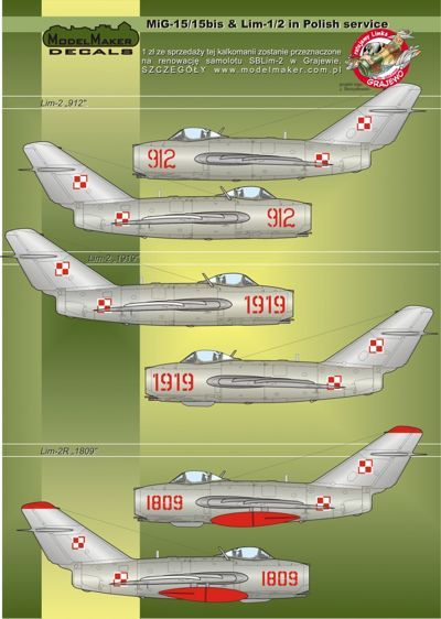 Model Maker Decals 1/32 Mikoyan MiG-15/15bis & Lim-1/2 in Polish Service # D32023