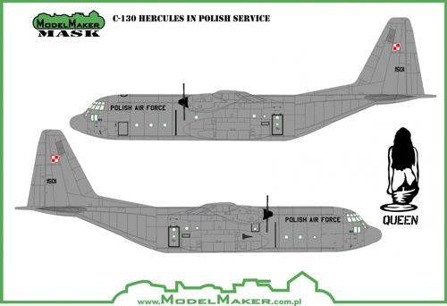 Model Maker Decals 1/48 Lockheed C-130 in Polish Service - Mask & Decal # MD48010