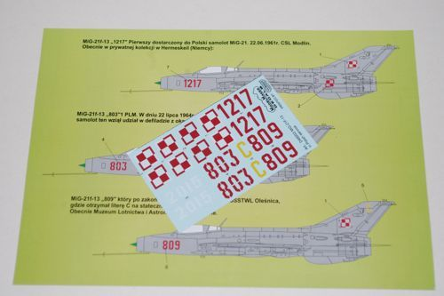 Model Maker Decals 1/48 Mikoyan MiG-21F-13 in Polish Service # D48003