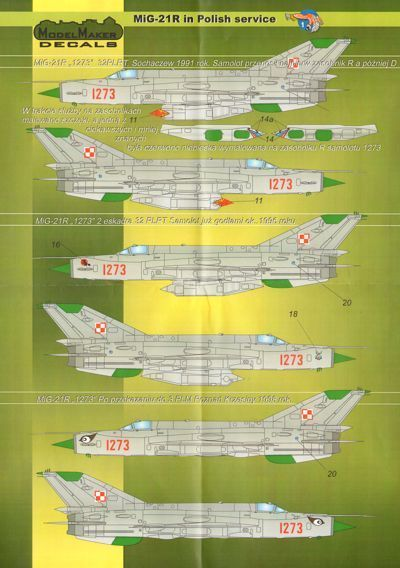 Model Maker Decals 1/48 Mikoyan MiG-21R in Polish Service # D48017